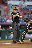 Umpire Tom West calls a strike during an Eastern League game between the Las Ardillas Voladoras de Richmond and Erie Piñatas on August 28, 2019 at UPMC Park in Erie, Pennsylvania.  Richmond defeated Erie 4-3 in the second game of a doubleheader.  (Mike Janes/Four Seam Images)