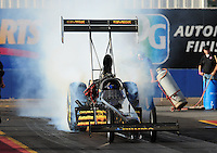 Jan 24, 2009; Chandler, AZ, USA; NHRA top fuel dragster driver Troy Buff during testing at the National Time Trials at Firebird International Raceway. Mandatory Credit: Mark J. Rebilas-