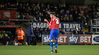 Josh Passley of Dagenham & redbridge makes his way to the tunnel following his sending off during the Sky Bet League 2 match between Dagenham and Redbridge and Wycombe Wanderers at the London Borough of Barking and Dagenham Stadium, London, England on 9 February 2016. Photo by Andy Rowland.