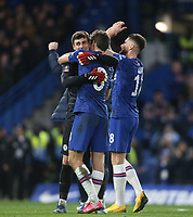 Chelsea's Kepa Arrizabalaga and Marcos Alonso celebrate at the end of the game <br /> <br /> Photographer Rob Newell/CameraSport<br /> <br /> The Emirates FA Cup Fifth Round - Chelsea v Liverpool - Tuesday 3rd March 2020 - Stamford Bridge - London<br />  <br /> World Copyright © 2020 CameraSport. All rights reserved. 43 Linden Ave. Countesthorpe. Leicester. England. LE8 5PG - Tel: +44 (0) 116 277 4147 - admin@camerasport.com - www.camerasport.com