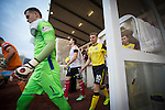 Clyde versus Edinburgh City, SPFL League 2 game at Broadwood Stadium, Cumbernauld. The match ended 0-0, watched by a crowd of 461. Photo shows The players emerging from the dressing rooms prior to kick-off.