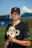 Bristol Pirates pitcher Allen Montgomery (29) poses for a photo before a game against the Elizabethton Twins on July 29, 2018 at Joe O'Brien Field in Elizabethton, Tennessee.  Bristol defeated Elizabethton 7-4.  (Mike Janes/Four Seam Images)