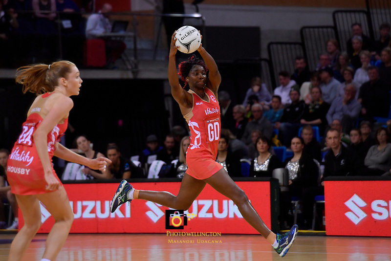 England's Ama Agbeze in action during the International Netball - NZ Silver Ferns v England Roses at Te Rauparaha Arena, Porirua, New Zealand on Thursday 7 September 2017.<br /> Photo by Masanori Udagawa. <br /> www.photowellington.photoshelter.com