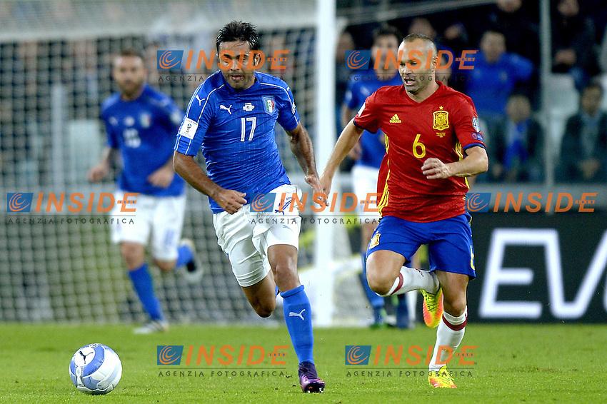 Eder Italy, Andres Iniesta Spain,<br /> Torino 06-10-2016 Juventus Stadium <br /> World Cup Qualifiers Italy - Spain / Italia - Spagna. Foto Filippo Alfero / Insidefoto