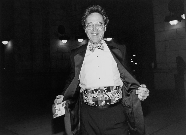 Rep. Bill Orton, D-Utah, on his way into the DLC evening gala at Union Station, displays his wild ensemble on Dec. 3, 1993. (Photo by Maureen Keating/CQ Roll Call)
