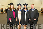 Alexandra White (Tralee), Leanne O'Riordan (Cullen), Rebecca Kelly (Fenit) and Brian Kerins (Tralee) graduating with a Batchelor of Business Honours from the I T Tralee on Friday.