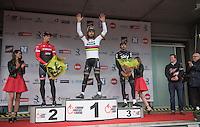 69th Kuurne-Brussel-Kuurne 2017 (1.HC) podium:<br /> 1/ Peter Sagan (SVK/Bora-Hansgrohe)<br /> 2/ Jasper Stuyven (BEL/Trek-Segafredo)<br /> 3/ Luke Rowe (GBR/SKY)