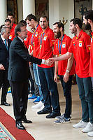 The reception of Prime Minister Mariano Rajoy to Spain national basketball team gold at EuroBasket 2015 at Moncloa Palace in Madrid, 21 September, 2015.<br /> Prime Minister Mariano Rajoy and Rudy Fernandez.<br /> (ALTERPHOTOS/BorjaB.Hojas) /NortePhoto.com