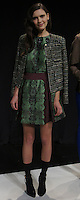 """IANA (MAJOR)- green multi tweed jacket, burgundy printed blouse with emlished neckline, burgundy printed high waist pleated skirt, black pointy heel with ankle strap"", Mercedes Benz Fashion Week, Marissa Webb fall/holiday 13, NYC, Feburary 09 2013"
