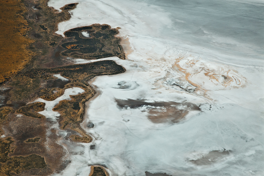 Aerial view of Patterns on Lake Lewis, 250km west of Alice Springs in Central Australia