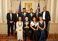 The five recipients of the 40th Annual Kennedy Center Honors pose for a group photo following a dinner hosted by United States Secretary of State Rex Tillerson in their honor at the US Department of State in Washington, D.C. on Saturday, December 2, 2017.  From left to right back row: David M. Rubenstein, Chairman, John F. Kennedy Center for the Performing Arts, US Secretary of State Rex Tillerson, LL Cool J, Lionel Richie, Glenn Weiss, and Ricky Kirshner, Executive Producers with White Cherry.  Front row, left to right: Carmen de Lavallade, Norman Lear, Gloria Estefan and Deborah F. Rutter, President of the John F. Kennedy Center for the Performing Arts.  The 2017 honorees are: American dancer and choreographer Carmen de Lavallade; Cuban American singer-songwriter and actress Gloria Estefan; American hip hop artist and entertainment icon LL COOL J; American television writer and producer Norman Lear; and American musician and record producer Lionel Richie.  <br /> Credit: Ron Sachs / Pool via CNP /MediaPunch NortePhoto.com. NORTEPHOTOMEXICO