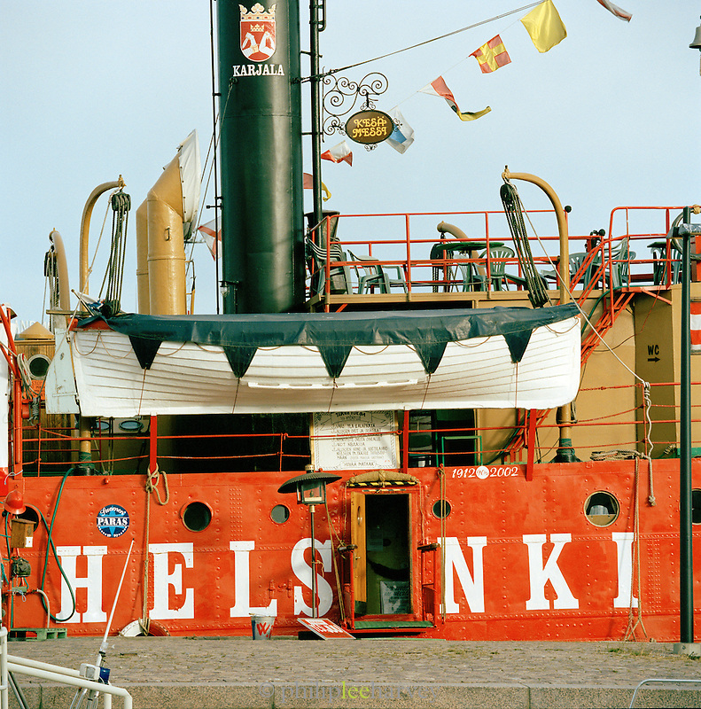 Colorful boat docked, Helsinki, Finland