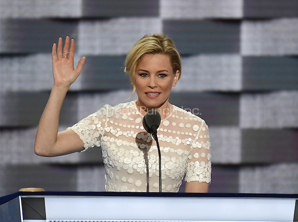 Elizabeth Banks makes remarks during the second session of the 2016 Democratic National Convention at the Wells Fargo Center in Philadelphia, Pennsylvania on Tuesday, July 26, 2016.<br /> Credit: Ron Sachs / CNP/MediaPunch<br /> (RESTRICTION: NO New York or New Jersey Newspapers or newspapers within a 75 mile radius of New York City)