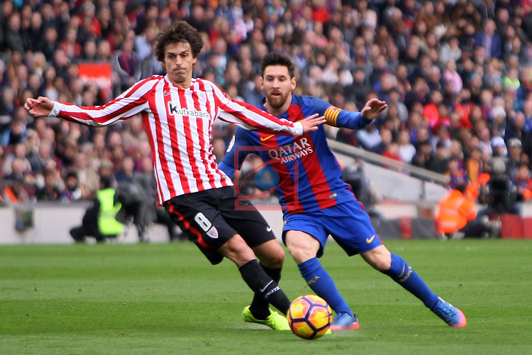 League Santander 2016/2017. Game: 21.<br /> FC Barcelona vs Athletic Club: 3-0.<br /> Iturraspe vs Lionel Messi.
