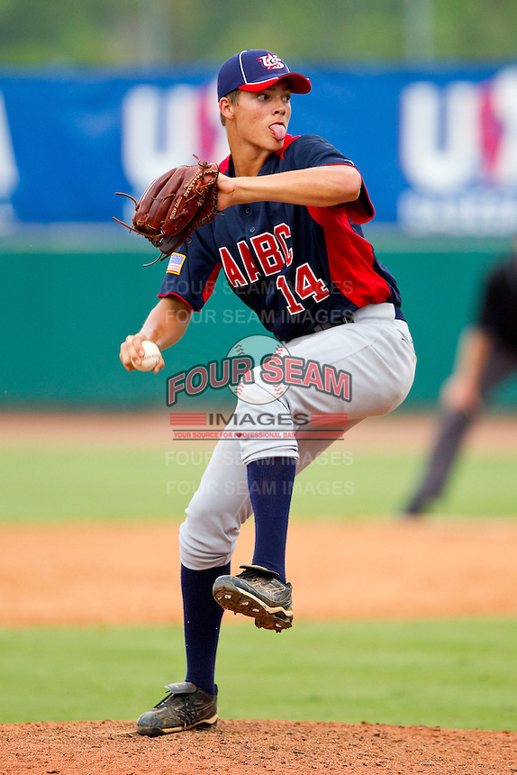 Jamie Callahan #14 of AABC in action against Babe Ruth at the 2011 Tournament of Stars at the USA Baseball National Training Center on June 26, 2011 in Cary, North Carolina.  Babe Ruth defeated AABC 3-2 in the Gold Medal game. (Brian Westerholt/Four Seam Images)