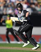 Colin Munro batting.<br /> New Zealand Black Caps v Australia.Tri-Series International Twenty20 cricket. Eden Park, Auckland, New Zealand. Friday 16 February 2018. &copy; Copyright Photo: Andrew Cornaga / www.Photosport.nz