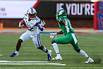 Southern Methodist Mustangs wide receiver Myron Gailliard (22) in action during the game between the UNT Mean Green and the SMU Mustangs at the Gerald J. Ford Stadium in Fort Worth, Texas.