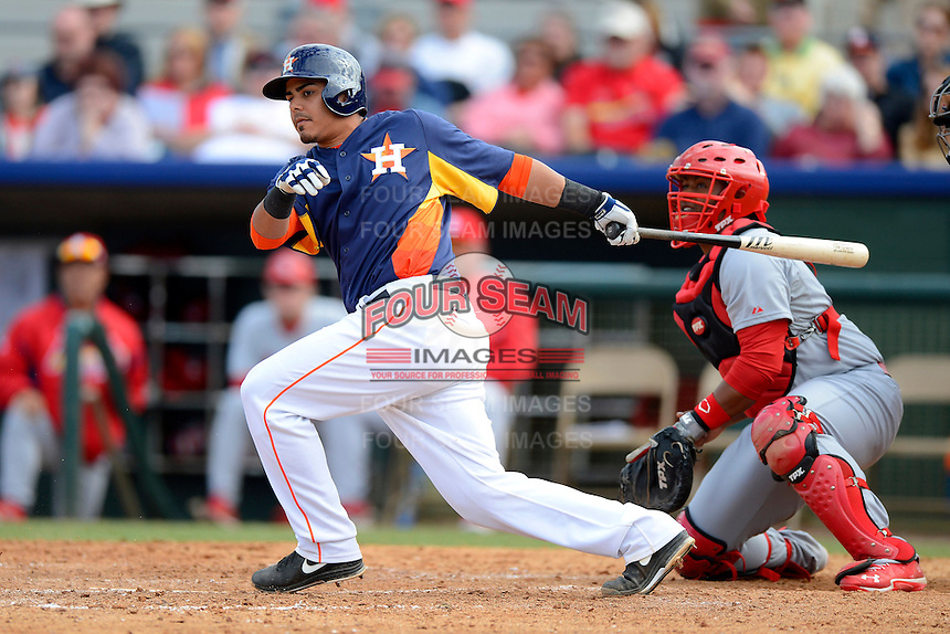 Houston Astros catcher Rene Garcia #69 at bat in front of catcher Audrey Perez #82 during a Spring Training game against the St. Louis Cardinals at Osceola County Stadium on March 1, 2013 in Kissimmee, Florida.  The game ended in a tie at 8-8.  (Mike Janes/Four Seam Images)