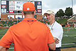 Wake Forest Demon Deacons head coach Dave Clawson (right) chats with Clemson Tigers head coach Dabo Swinney prior to their game at BB&T Field on October 6, 2018 in Winston-Salem, North Carolina. The Tigers defeated the Demon Deacons 63-3. (Brian Westerholt/Sports On Film)