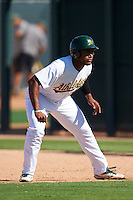 Oakland Athletics Miguel Mercedes (15) during an Instructional League game against the San Francisco Giants on October 5, 2016 at Fitch Park in Mesa, Arizona.  (Mike Janes/Four Seam Images)