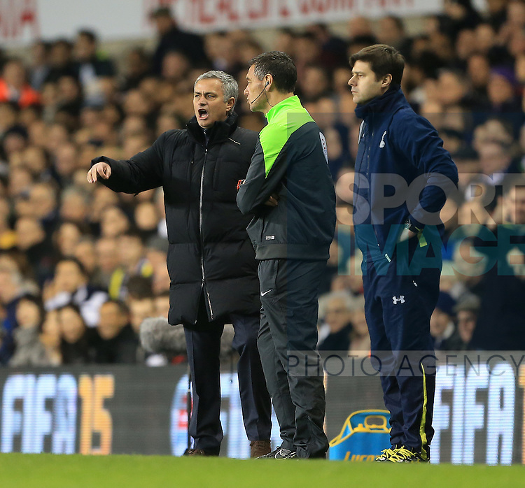 Chelsea's Jose Mourinho argues over a decision<br /> <br /> Barclays Premier League - Tottenham Hotspur vs Chelsea - White Hart Lane  - England - 1st January 2015 - Picture David Klein/Sportimage