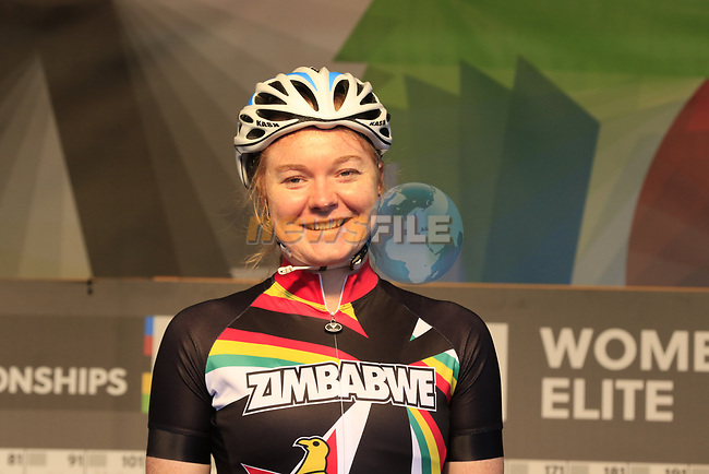 Skye Davidson of Zimbabwe at sign on for the start of the Women Elite Road Race of the UCI World Championships 2019 running 149.4km from Bradford to Harrogate, England. 28th September 2019.<br /> Picture: Eoin Clarke   Cyclefile<br /> <br /> All photos usage must carry mandatory copyright credit (© Cyclefile   Eoin Clarke)