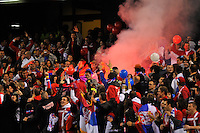 MELBOURNE, AUSTRALIA - JUNE 7: The Serbian fans let off a flare during an international friendly match between the Qantas Australian Socceroos and Serbia at Etihad Stadium on June 7, 2011 in Melbourne, Australia. Photo by Sydney Low / AsteriskImages.com