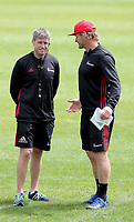 Ronan O'Gara and Scott Robertson during the Crusaders Super Rugby training session at Rugby Park in Christchurch, New Zealand on Thursday 22 February 2018. Photo: Martin Hunter / lintottphoto.co.nz