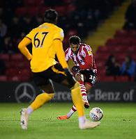 Lincoln City's Matt Green scores his side's second goal<br /> <br /> Photographer Chris Vaughan/CameraSport<br /> <br /> The EFL Checkatrade Trophy Northern Group H - Lincoln City v Wolverhampton Wanderers U21 - Tuesday 6th November 2018 - Sincil Bank - Lincoln<br />  <br /> World Copyright © 2018 CameraSport. All rights reserved. 43 Linden Ave. Countesthorpe. Leicester. England. LE8 5PG - Tel: +44 (0) 116 277 4147 - admin@camerasport.com - www.camerasport.com