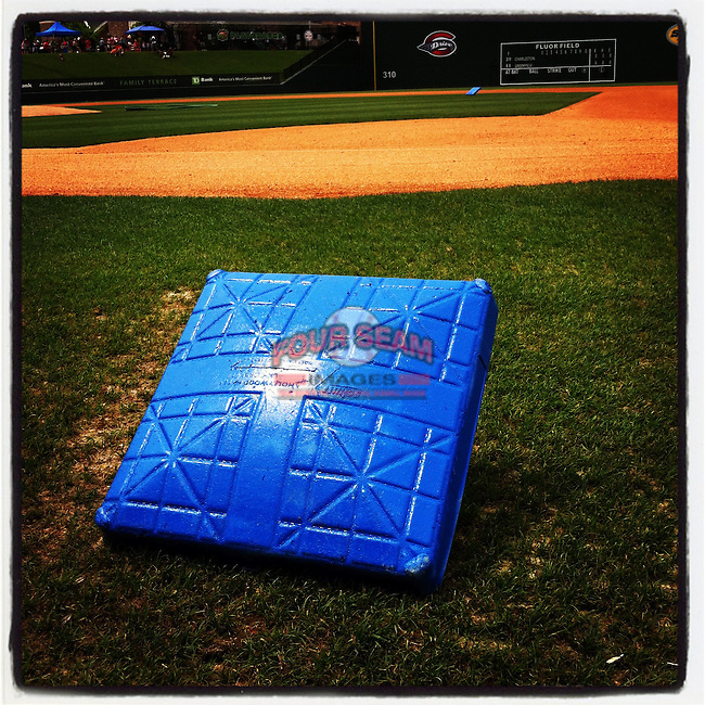 Blue bases for colon cancer awareness day. (Tom Priddy/Four Seam Images)
