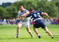 Rory Jennings of Bath Rugby takes on the Bristol Rugby defence. Pre-season friendly match, between Bristol Rugby and Bath Rugby on August 12, 2017 at the Cribbs Causeway Ground in Bristol, England. Photo by: Patrick Khachfe / Onside Images