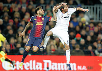 FC Barcelona's Daniel Alves (l) and Real Madrid's Fabio Coentrao during Copa del Rey - King's Cup semifinal second match.February 26,2013. (ALTERPHOTOS/Acero) /Nortephoto
