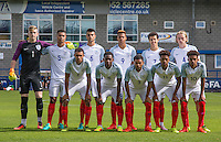 The England pre match team photo during the International match between England U19 and Netherlands U19 at New Bucks Head, Telford, England on 1 September 2016. Photo by Andy Rowland.