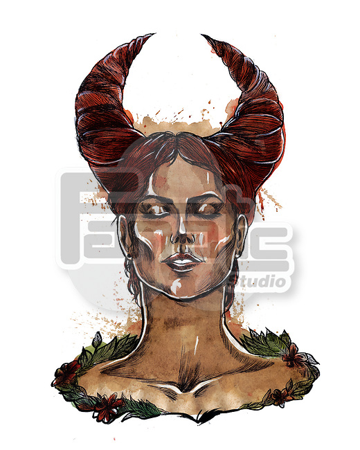 Illustration of Taurus woman zodiac sign over white background