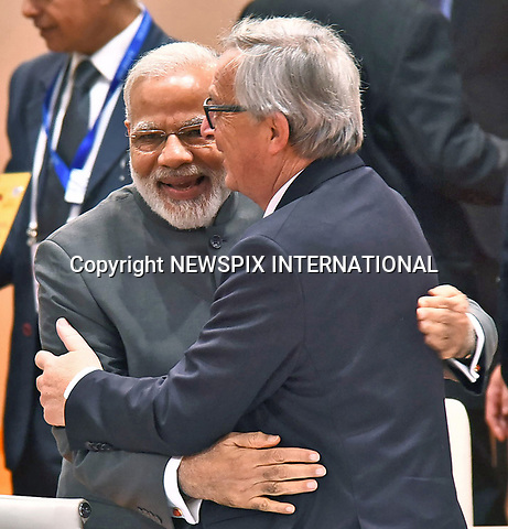 07.07.2017; Hamburg, Germany: JEAN-CLAUDE JUNCKER COSIES UP TO NARENDRA MODI<br /> at the G20 Summit in Hamburg Germany.<br /> Mandatory Credit Photo: &copy;NEWSPIX INTERNATIONAL<br /> <br /> IMMEDIATE CONFIRMATION OF USAGE REQUIRED:<br /> Newspix International, 31 Chinnery Hill, Bishop's Stortford, ENGLAND CM23 3PS<br /> Tel:+441279 324672  ; Fax: +441279656877<br /> Mobile:  07775681153<br /> e-mail: info@newspixinternational.co.uk<br /> **All Fees Payable To Newspix International**