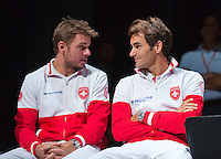 Switserland, Genève, September 17, 2015, Tennis,   Davis Cup, Switserland-Netherlands, Draw, Stan Wawrinka and Roger Federer (R)<br /> Photo: Tennisimages/Henk Koster