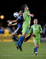 Ryan Johnson of Earthquakes fights for the ball against Patrick Ianni of Sounders during the game at Buck Shaw Stadium in Santa Clara, California on April 2nd, 2011.   San Jose Earthquakes and Seattle Sounders are tied 1-1 at halftime.