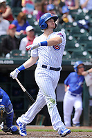 Iowa Cubs second baseman Ian Happ (8) hits home run over the  left field fence during a game against the Round Rock Express at Principal Park on April 16, 2017 in Des  Moines, Iowa.  The Cubs won 6-3.  (Dennis Hubbard/Four Seam Images)