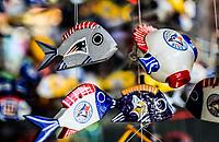 Ceramic fish.<br /> Sales of souvenirs in the tourist destination Puerto Peñasco, Sonora, Mexico. crafts, art, handicrafts, beachwear and accessories, ceramics, sunglasses, Mexican handicrafts, leather guarache, Mexican guarache, sun hat and decorative items. <br /> Peces de ceramica.<br /> Venta de Recuerdos en el destino turistico Puerto Peñasco, Sonora, Mexico. artesanias, arte, manualidades, ropa y accesorios de playa, ceramica, lentes de sol, artesanias mexicanas, guarache de piel, guarache mexicanos, sombrero para el sol y articulos de decoracion. (Photo: Luis Gutierrez /NortePhoto.com)