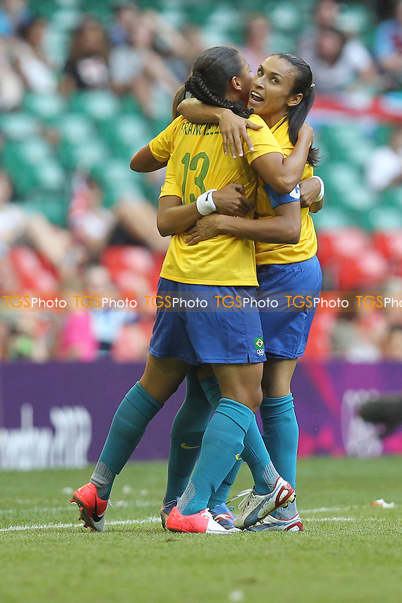 FRANCIELLE of Brazil scores the first goal with MARTA - Brazil Women vs Cameroon Women - Womens Olympic Football Tournament London 2012 Group E at the Millenium Stadium, Cardiff, Wales - 25/07/12 - MANDATORY CREDIT: Gavin Ellis/SHEKICKS/TGSPHOTO - Self billing applies where appropriate - 0845 094 6026 - contact@tgsphoto.co.uk - NO UNPAID USE.