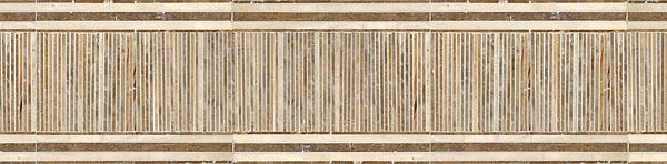 "10"" Tatami Mat border, a hand-cut stone mosaic, shown in polished Travertine White, Travertine Noce, and Breccia Onicata."