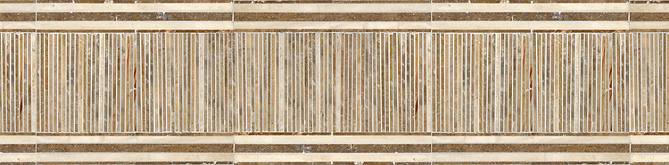 "10"" Tatami Mat border, a hand-cut stone mosaic, shown in polished Travertine White, Travertine Noce, and Breccia Onicata."