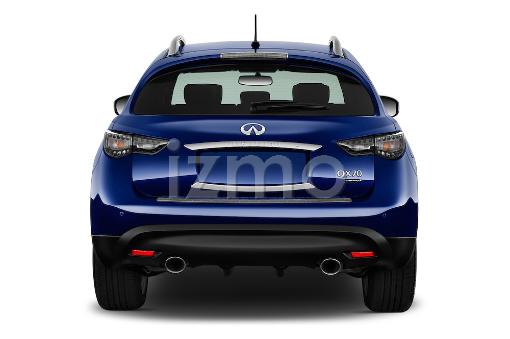 Straight rear view of 2017 Infiniti QX70 3.7 5 Door SUV Rear View  stock images
