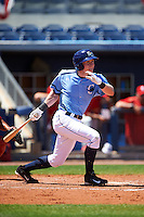 Charlotte Stone Crabs shortstop Alec Sole (23) at bat during a game against the Palm Beach Cardinals on April 10, 2016 at Charlotte Sports Park in Port Charlotte, Florida.  Palm Beach defeated Charlotte 4-1.  (Mike Janes/Four Seam Images)