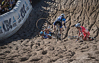 clash/crash during the descent into 'The Pit'<br /> <br /> U23 race<br /> CX Superprestige Zonhoven 2016