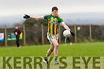 Declan O'Sullivan, Lispole, takes a shot during his sides clash with Ballyhooly in the Munster Junior B club football final in Knockaderry