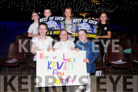 Caoimhe, Eimear and Saidhbh Cotter, back, Micheál Cotter and Liam Meade, Lucy O'Donnell and Grace Lucid at the Austin Stacks Strictly Come Dancing on Saturday night
