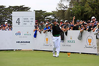 Hideki Matsuyama (International) on the 4th tee during the Second Round - Foursomes of the Presidents Cup 2019, Royal Melbourne Golf Club, Melbourne, Victoria, Australia. 13/12/2019.<br /> Picture Thos Caffrey / Golffile.ie<br /> <br /> All photo usage must carry mandatory copyright credit (© Golffile | Thos Caffrey)