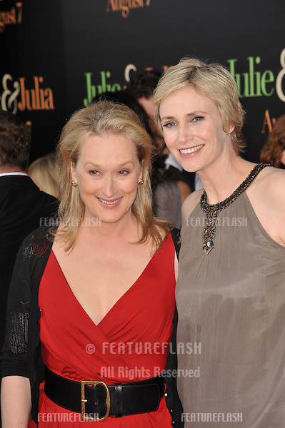 """Meryl Streep (left) & Jane Lynch at the Los Angeles premiere of their new movie """"Julie & Julia"""" at Mann Village Theatre, Westwood..July 27, 2009  Los Angeles, CA.Picture: Paul Smith / Featureflash"""