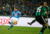 during the  italian serie a soccer match,between SSC Napoli Sassuolo       at  the San  Paolo   stadium in Naples  Italy , November 28, 2016